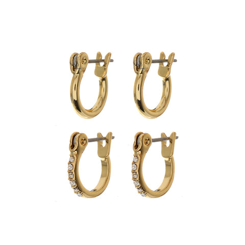 Ravello Hoop Huggies Set- Gold