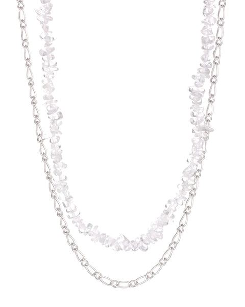 Rock Candy Necklace Duo- Silver