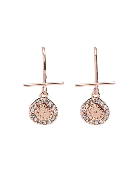Mini Pave Coin Hook Earrings- Rose Gold