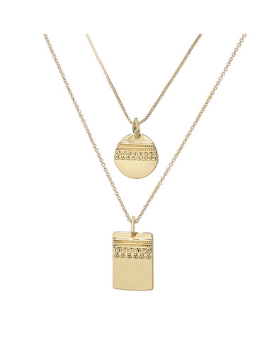 Marrakech Double Charm Necklace- Gold