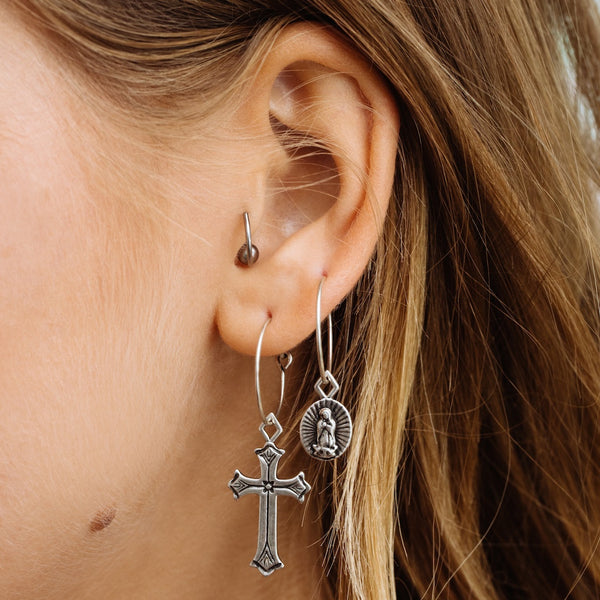 Isidore Cross Hoops- Silver