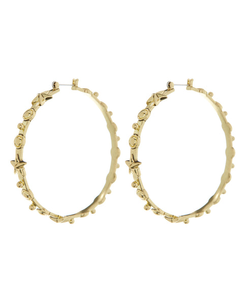 Starlight Charm Hoops- Gold