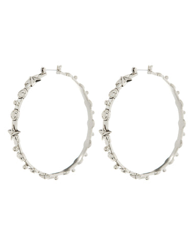Starlight Charm Hoops- Silver