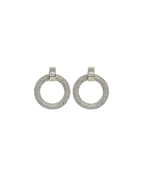 Mini Pave Door Knocker Hoops- Silver