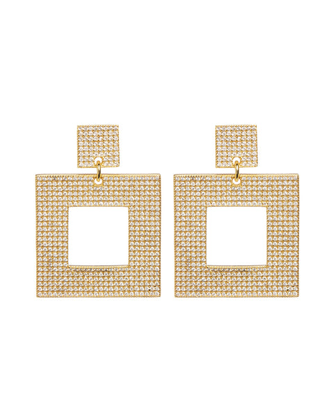 Pave Box Hoops- Gold