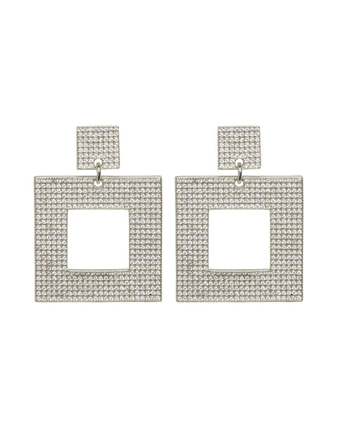 Pave Box Hoops- Silver