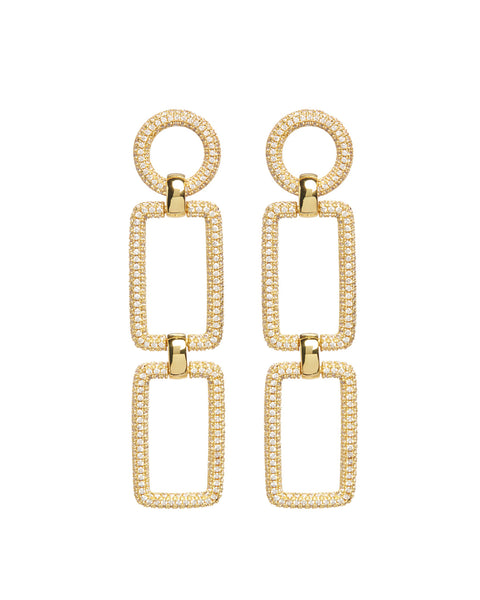Pave Chain Link Earrings- Gold