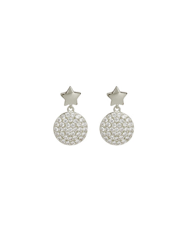 Pave Disc Star Studs- Silver