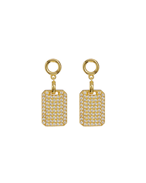 Pave Dogtag Studs- Gold