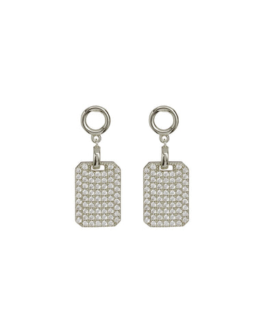 Pave Dogtag Studs- Silver
