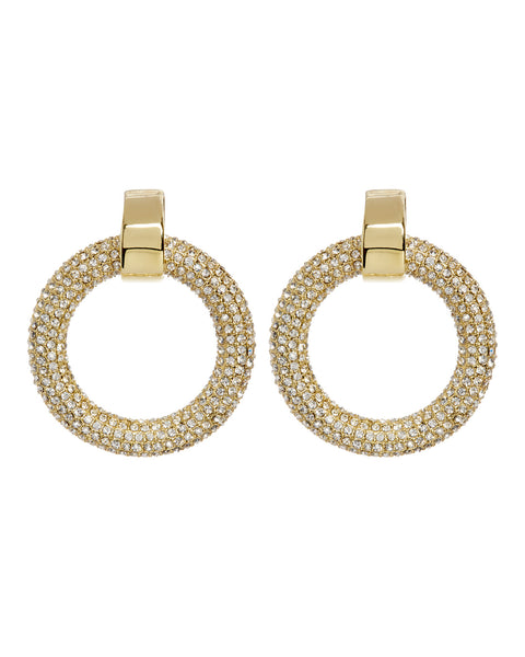 Pave Door Knocker Hoops- Gold