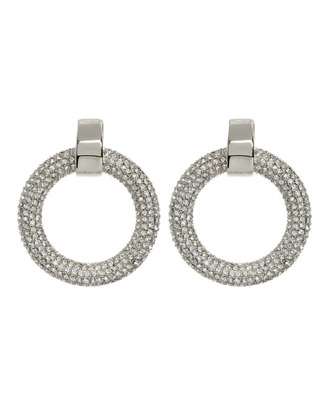 Pave Door Knocker Hoops- Silver