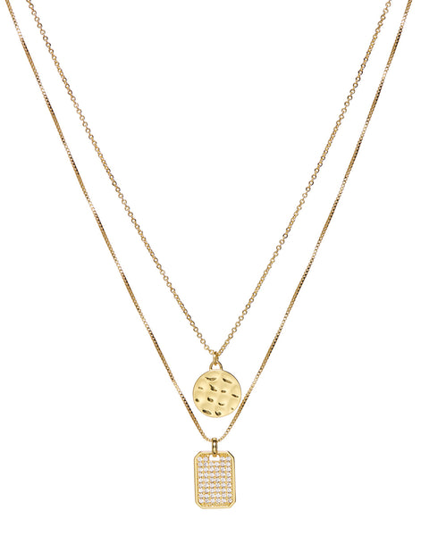 Pave Double Dog Tag Necklace- Gold