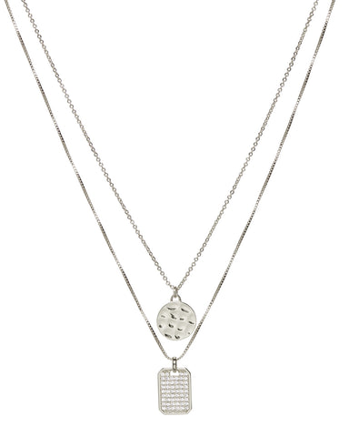 Pave Double Dog Tag Necklace- Silver