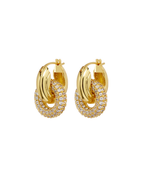 Pave Interlock Hoops- Gold (Ships Mid March)