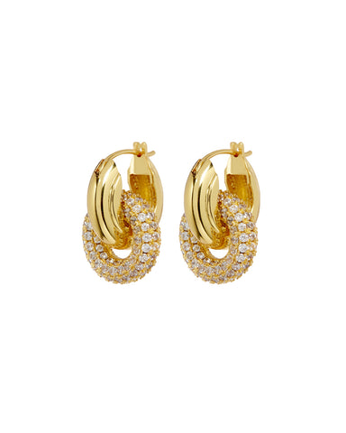 Pave Interlock Hoops- Gold (Ships Late April)