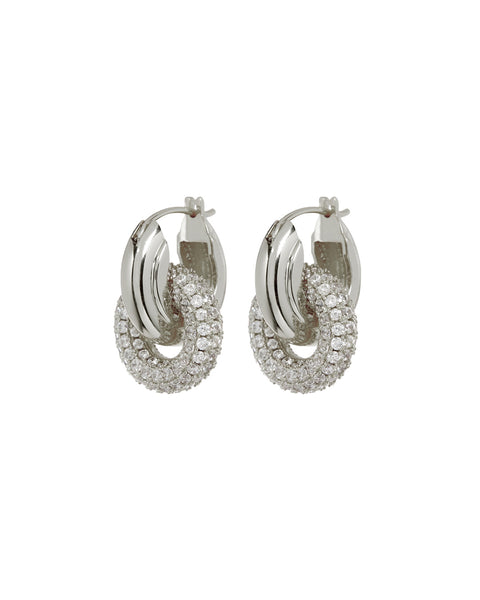 Pave Interlock Hoops- Silver