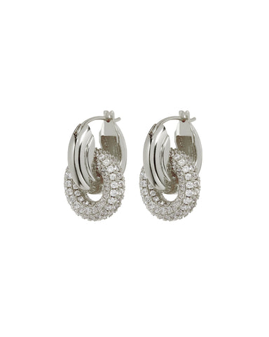 Pave Interlock Hoops- Silver (Ships Early April)