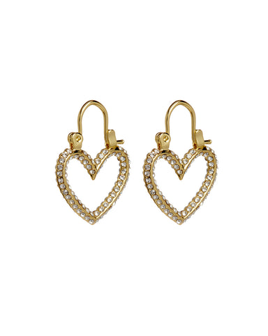 Pave Mini Heartbreaker Hoops- Gold (Ships Late April)