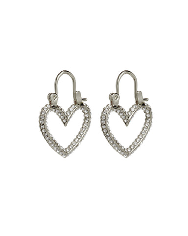 Pave Mini Heartbreaker Hoops- Silver (Ships Immediately)