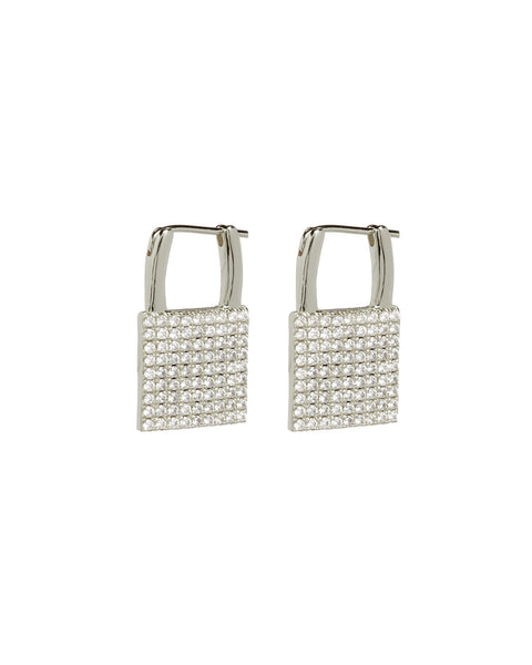 Pave Padlock Earrings- Silver
