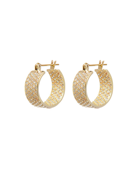 Pave Positano Hoops- Gold (Ships Early November)