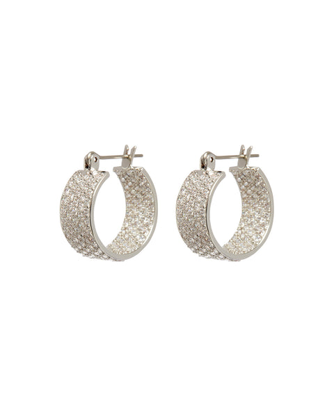 Pave Positano Hoops- Silver (Ships Early July)