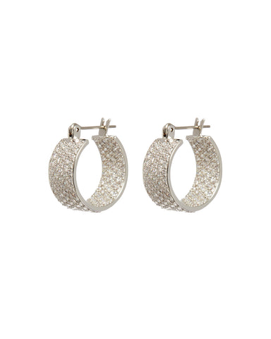 Pave Positano Hoops- Silver (Ships Early April)
