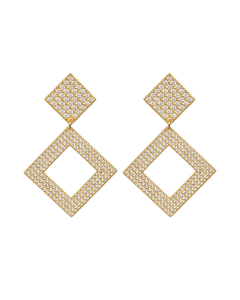 Pave Princess Earrings- Gold