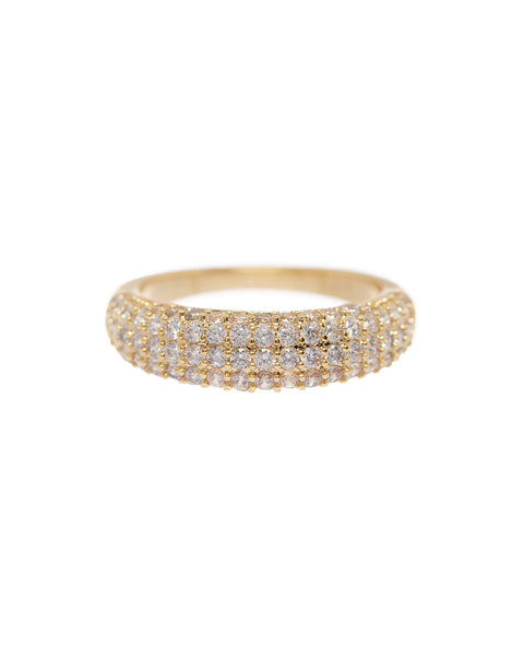 Pave Tube Ring- Gold