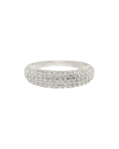 Pave Tube Ring- Silver