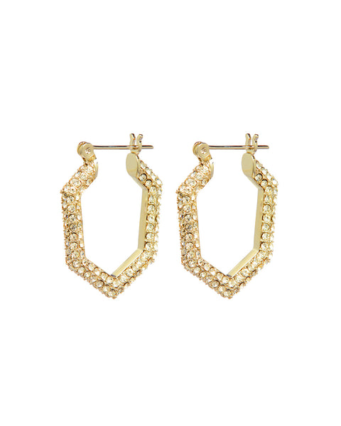 Pave V Hoops- Gold