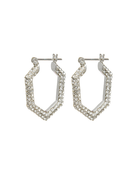 Pave V Hoops- Silver