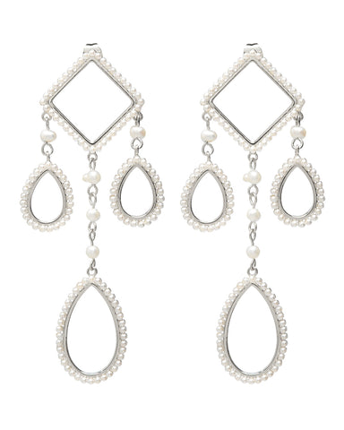 Peony Pearl Statement Earrings- Silver