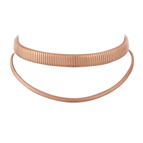 Double Snake Chain Choker- Rose Gold