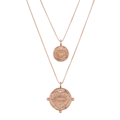 Evil Eye Double Coin Necklace- Rose Gold