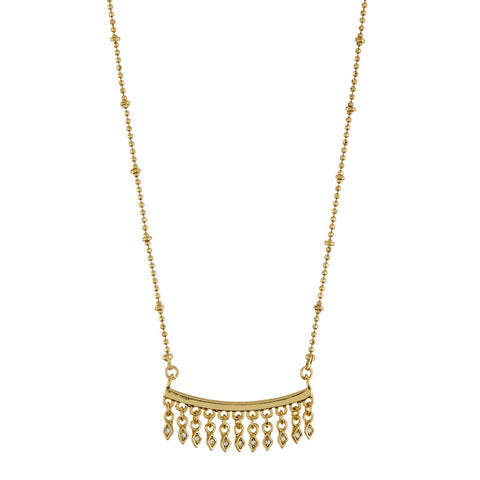 Evil Eye Fringe Charm Necklace- Gold