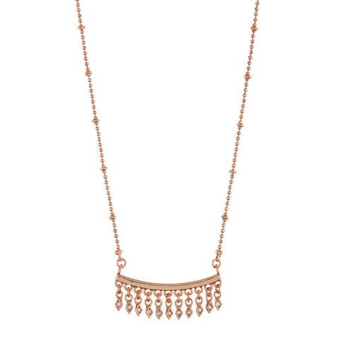 Evil Eye Fringe Charm Necklace- Rose Gold