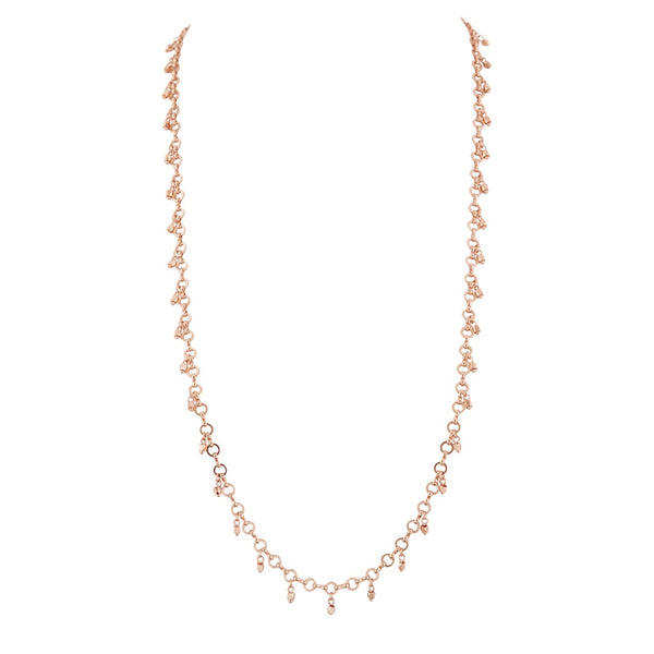 Faceted Bead Belly Chain- Rose Gold