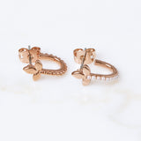 Marquise Hook Huggies- Rose Gold
