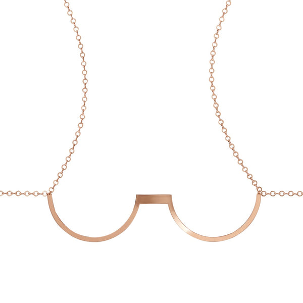 Metal Underwire Chain Bra- Rose Gold