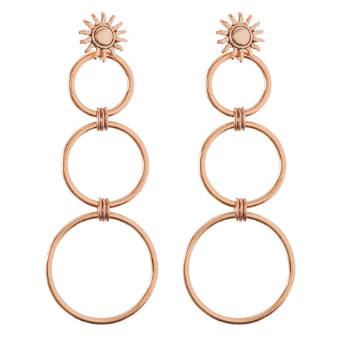 Sunburst Statement Hoops- Rose Gold