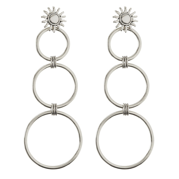 Sunburst Statement Hoops- Silver