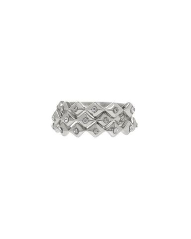 Diamond Kite Ring Stack- Silver