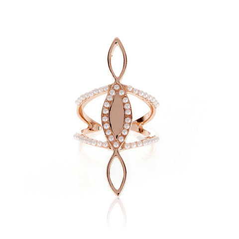 Triple Marquise Statement Ring- Rose Gold