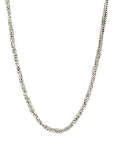 Twisted Bead Necklace- Silver