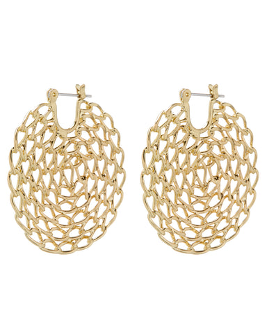 Twisted Chain Hoops- Gold