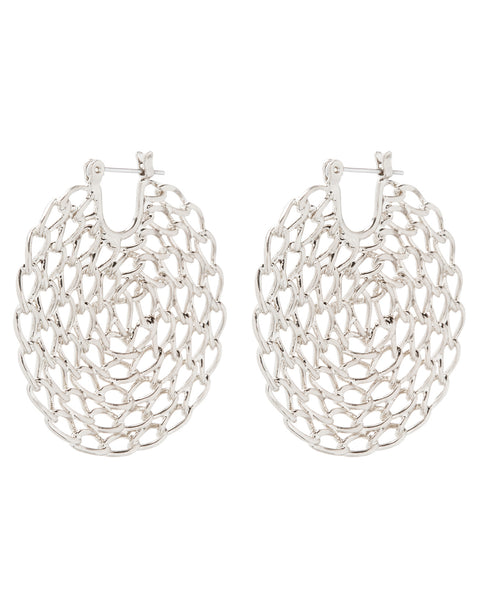 Twisted Chain Hoops- Silver