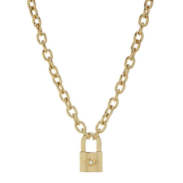 Evil Eye Padlock Necklace- Gold (Ships Late August)