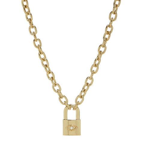 Evil Eye Padlock Necklace- Gold (Ships Late April)